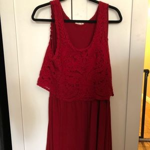 anthropologie red flowy dress with lace crop